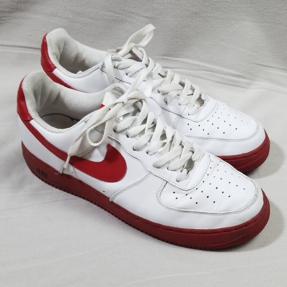 Nike Shoes Air Force One White Red Sneakers 04 Size 12 Poshmark